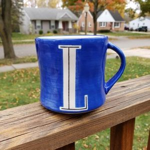 Anthropologie Blue L Handpainted Initial Mug